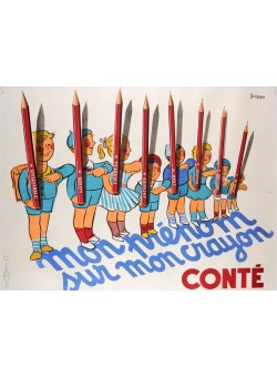 """Original Vintage French Poster """"Conte Crayon"""" by Bellenger 1950's"""