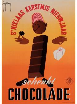 "Original Vintage Belgian Poster ""Schenkt Chocolade  Brussel"" by Delamare 1950's"