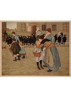 """Original French Poster """"Back To School"""" by Adler 1905"""