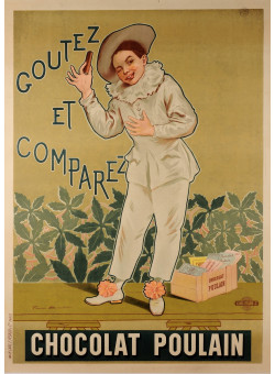 """Original Vintage French Poster for """"Chocolat Poulain"""" by Alphonse Marx 1904"""