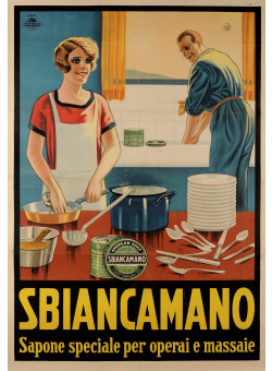"""Original Vintage Italian Poster for """"SBIANCAMANO"""" Soap for Dishes SOLD AS IS"""