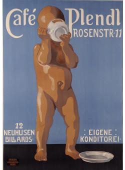 "Original Vintage German Poster ""Cafe Plendl"" Munich by F. Weinberg-Roul ca. 1920"