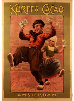 """Original Vintage Dutch Poster """"Korff's"""" Cacao  Chocolate Amsterdam ca. 1900"""