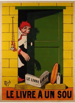 """Original Vintage French Poster """"Le livre A un Sou"""" Short Novels by Mich ca. 1920"""