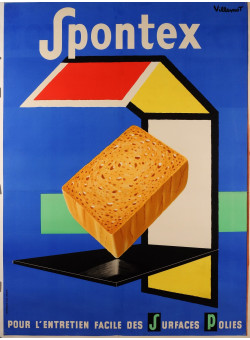 "Original Vintage French Poster Advertising ""Spontex"" Sponges by Villemot 1970's"