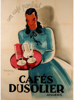"Original Vintage French Advertising Poster ""Café Dusolier"" by Leon Dupin 1920's"