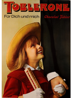 "Original Vintage Swiss Poster for ""Toblerone"" Chocolate by Christa Furrer 1960"