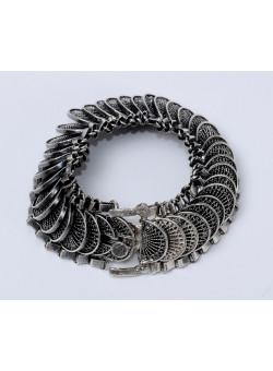 Vintage 925 Sterling Silver and Filigree Artisan Bracelet 1950's