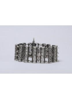 Ethnic Silver and Filigree Handmade Bracelet 1950's-60's