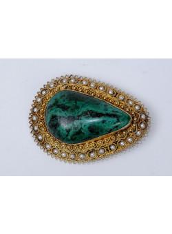 Vintage Large Vintage Filigree MALACHITE Pin Brooch