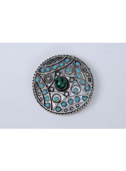 "Vintage Bezalel Israel Round Ethnic Silver Filigree Pin Brooch ""Eilat Stone"" And Turquoise"