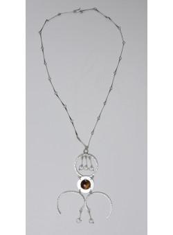 Ethnic Artisan Handmade Israeli 925 SilverModern Style Necklace with Semi Precious Stone