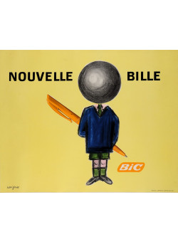 """Original Vintage French Poster for """"Bic Nouvelle Bille"""" Pens by Raymond Savignac"""
