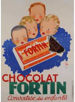 """Original Vintage French Poster for """"Chocolat Fortin"""" by Paul Igert 1934"""