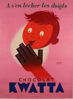 "Original Vintage Belgian Poster for ""Kwatta Chocolat"" by Hervé Morvan 1950's"