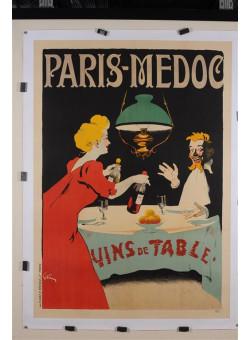 "Original Vintage French Poster ""Paris-Medoc"" by Grun. ca 1900"
