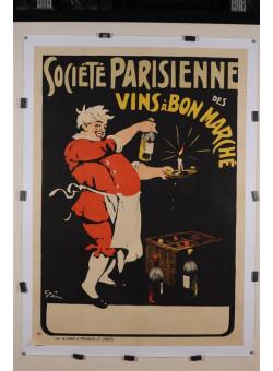 """Original Vintage French Poster """"Societe Parisienne des Vins a Bon Marche"""" by Grun. 1898"""