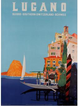 "Original Vintage Swiss Travel Poster ""Lugano"" 1950's by Buzzi, Daniele"