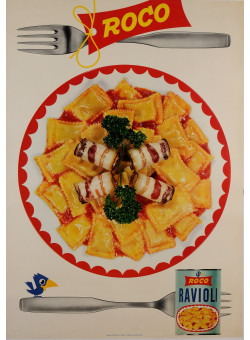 "Original Vintage Swiss Poster Advertising ""Roco"" Ravioli Pasta 1950's-60's"
