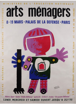 """Original French Advertising Exhibition Poster for the """"Arts Menagers"""" by Bernard"""