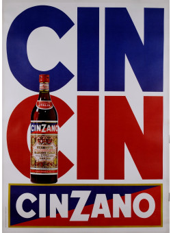 "Original Vintage Alcohol Advertising Poster ""CIN CIN Cinzano"""
