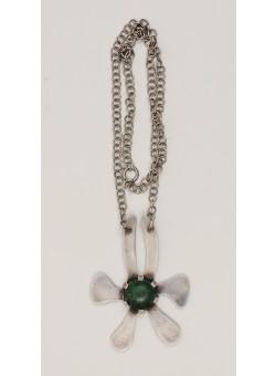 Vintage TAS Handmade Silver Brooch Necklace Malachite Stone Israel 1970's