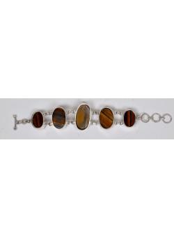 Handmade Artisan Ethnic White Silver Golden Agate Semi-precious Stones Bracelet