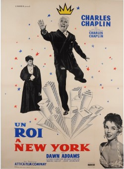 "Original Vintage French Movie Poster for ""Un Roi a New York"" C. Chaplin 1957"