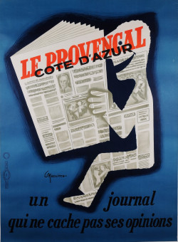 """Original Vintage French Poster for """"LA PROVENCAL"""" Newspaper by C. Nicolitch"""