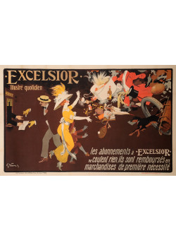"""Original Vintage French OVERSIZE Poster for """"Excelsior"""" by Grun ca. 1920"""