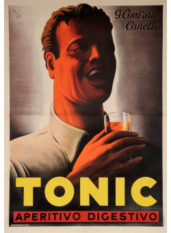 """Original Vintage Italian OVERSIZE Poster for """"Tonic"""" Aperitif  2 Parts SOLD AS IS"""