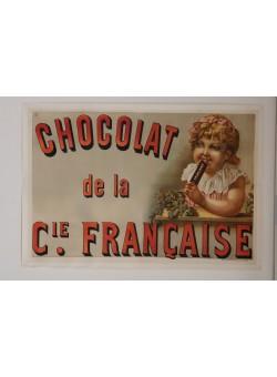 """Original Vintage French OVERSIZE 2 PARTS Poster for """"Chocolat de la Cie. Francaise"""" ca. 1900"""