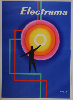 """Original Vintage French OVERSIZE 4 PARTS Poster for """"Electrama"""" by Villemot 1959"""