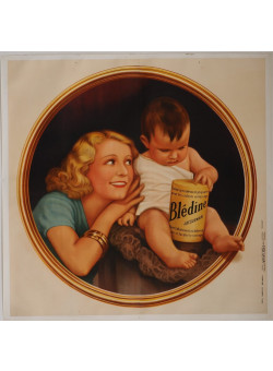 "Original Vintage French OVERSIZE 2 PARTS Before Letters Poster for ""Bledine Jacquemaire"" Baby Cereals 1933"