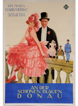 "Original Vintage Austrian OVERSIZE 2 PARTS Movie Poster for ""An Der Schönen Blauen Donau"" by Atelier Waldner Wien 1950's"