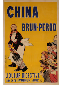 """Original Vintage French Alcohol OVERSIZE Poster for """"China Brun-Perod"""" by Oge"""