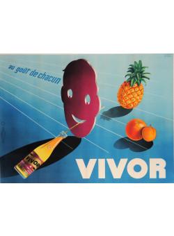 "Original Vintage French Poster Advertising ""Vivor"" Soft Drink by R. Ansieau"