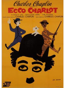 "Original Vintage Charlie Chaplin Spanish Poster ""Ecco Charlot"" Chaplin Festival by Leo Kouper"