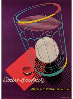 "Original Vintage French Poster for ""Contre Douleurs"" Pain Killers by Donald Brun"