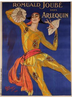 "Original Vintage French Poster for ""Arlequin"" Romuald Joubé by Domergue 1921"
