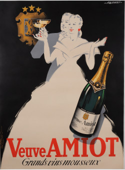 "Original Vintage French Poster for ""Veuve Amiot"" by Robert Falcucci 1950's"
