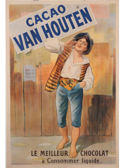 "Original Vintage French Poster Advertising ""Cacao Van Houten"" Chocolate ca. 1900"