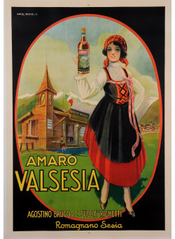 "Original Vintage Italian Alcohol Poster Advertising ""Amaro Valsesia"" Aperitif"