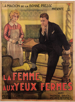 "Original Vintage French Movie Poster Advertising ""La Femme aux Yeux Fermes"""