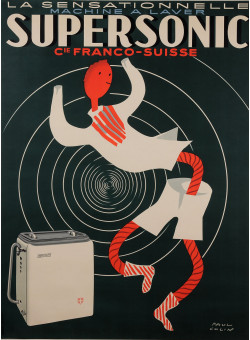 "Original Vintage French Poster for ""Supersonic - Machine a Laver"" by Paul Colin"