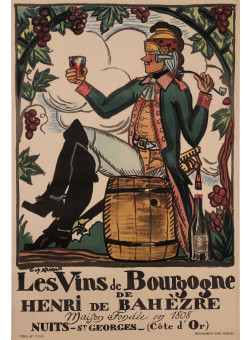 "Original Vintage French Poster Advertising ""Les Vins De Bourgogne"" by G. Arnoux ca. 1900"
