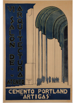 "Original Vintage French Exhibition Poster for ""VI Salon de Arquitectura Ateneo"""