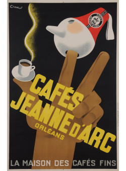 """Original Vintage French poster for """"Cafés Jeanne D'Arc Orleans"""" Coffee by Chew 1950's"""