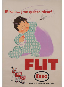 "Original Vintage Argentinian Poster ""Esso - Flit"" Insecticide Mosquitoes 30-40's"