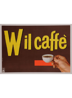 "Original Vintage Dutch Poster Advertising ""Wil Caffe"" Coffee 1950's"